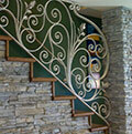 curled wrought iron balustrade