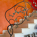 balustrade with wrought iron branches