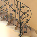 balustrade with wrought iron vine shoots