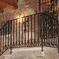 rustic-Gothic wrought iron balustrade
